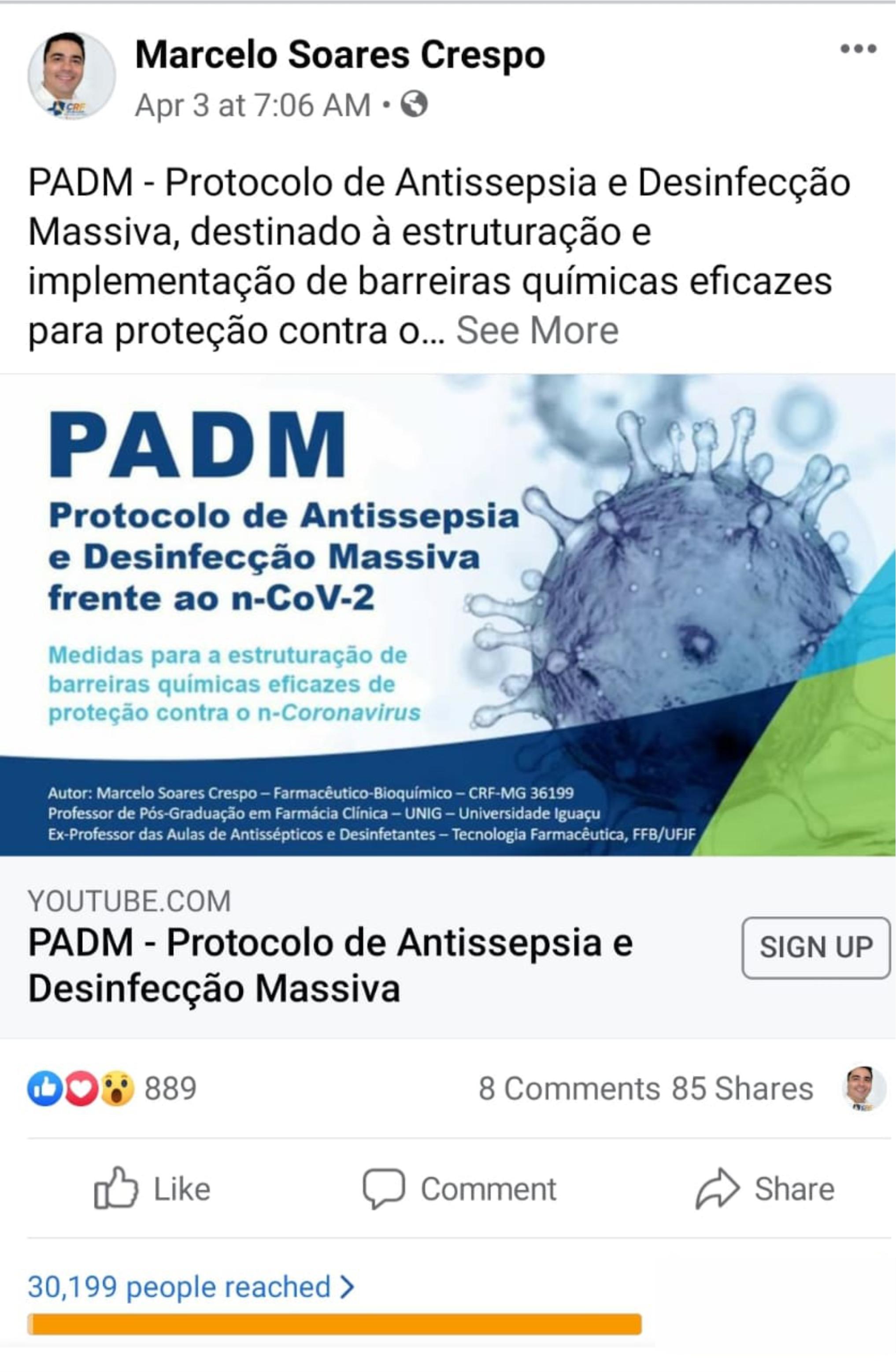 imagem projeto PADM - Protocolo de Antissepsia e Desinfecção Massiva
